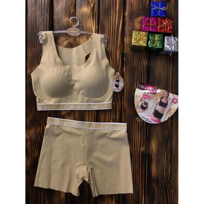 Комплект белья - в стиле Calvin Klein женский двойка (топ+шорты) Бежевый