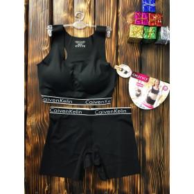 Комплект белья - в стиле Calvin Klein женский двойка (топ+шорты) Чёрный