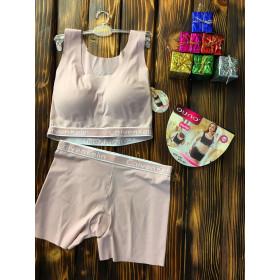 Комплект белья - в стиле Calvin Klein женский двойка (топ+шорты) Розовый