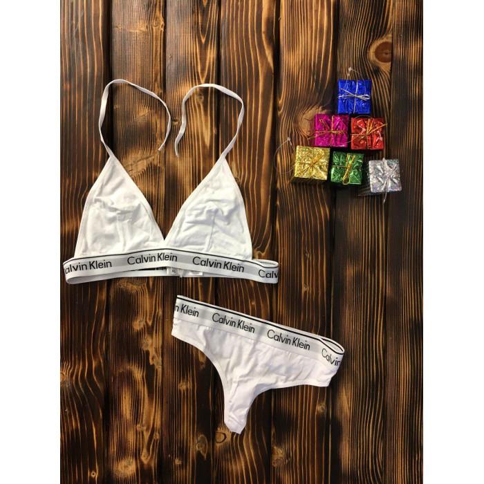 Комплект белья - в стиле Calvin Klein женский двойка (топ+стринги) Белый
